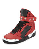 Tyson Star High-Top Sneaker, Black/Red