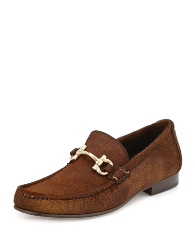 Giordano 3 Calf Hair Bit Loafer, Brown
