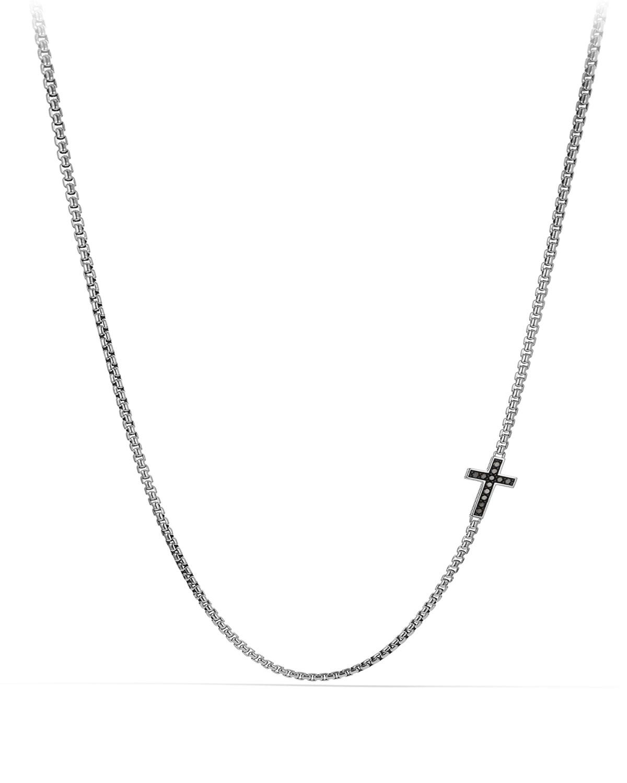 Men's Pave Cross Necklace with Black Diamonds