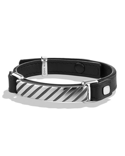 Modern Cable ID Bracelet in Black