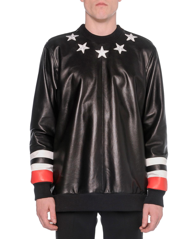 Leather-Front Star Sweatshirt, Black