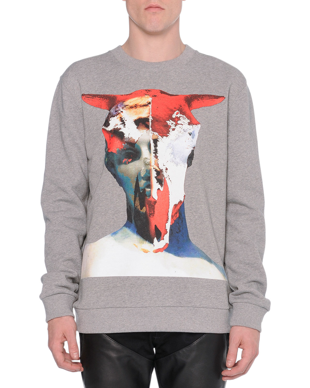 Bull-Skull Graphic Sweatshirt, Gray