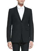 Modern-Fit Wool Suit, Black