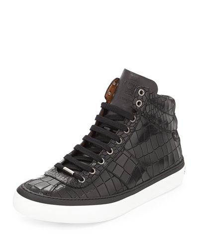 Belgravia Crocodile-Embossed High-Top Sneaker, Black