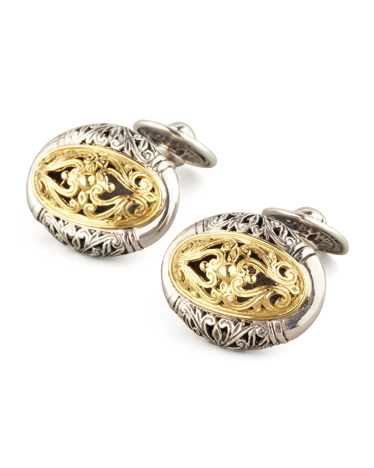 Mixed Metal Oval Cuff Links