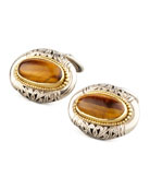 Tiger's Eye Oval Cuff Links