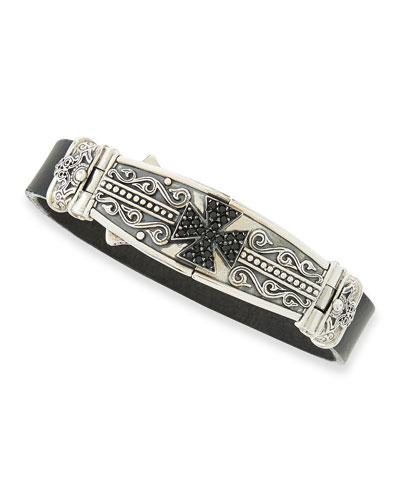Men's Leather & Spinel-Cross Bracelet