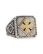 Men's Maltese Cross Square Ring, Size 10