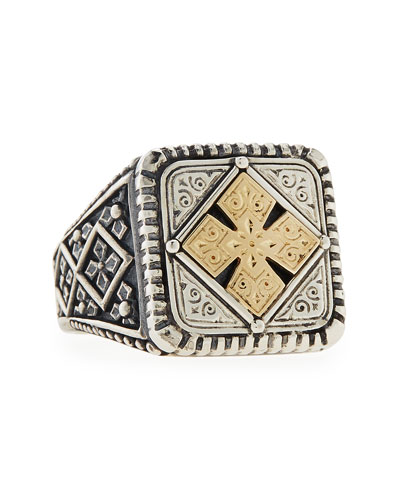 Men's Maltese Cross Square Ring, Size 10