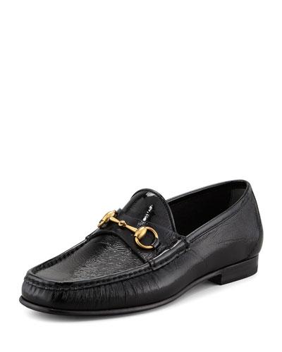 Patent Horsebit Loafer, Black