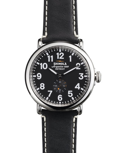 The Runwell Black Dial Leather Strap Watch, 41Mm