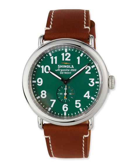 Shinola Men's 47mm Runwell Men's Watch, Green/Brown