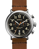Men's 47mm Runwell Chronograph Men's Watch, Black/Tan