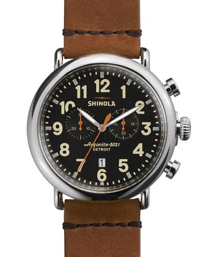 Men'S 47Mm Runwell Chronograph Men'S Watch, Black/Tan in Brown/ Black
