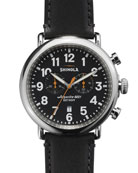 Men's 47mm Runwell Chronograph Men's Watch, Black/Black