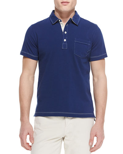 Contrast-Topstitching Polo Shirt
