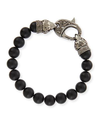 Matte Beaded Bracelet, Black