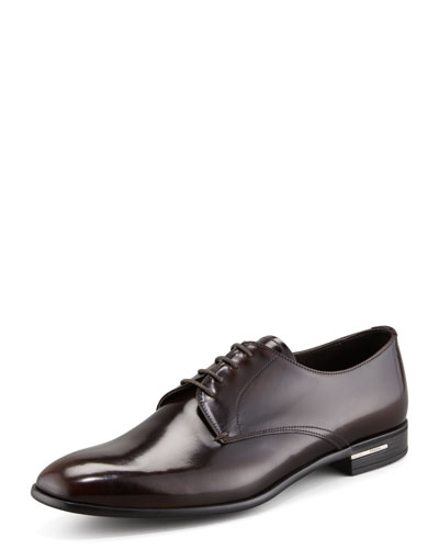 Plain-Toe Rubber-Sole Shoe, Brown