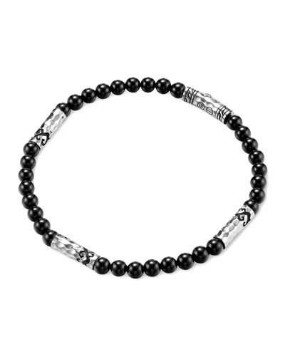 Men's Batu Dayak Silver Bead Bracelet in Onyx