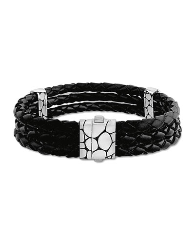 Kali Black Woven Leather Triple-Row Bracelet