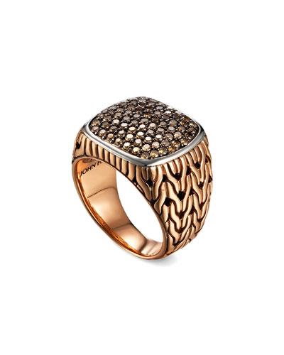 Men's Classic Chain Silver/Bronze Ring with Diamonds