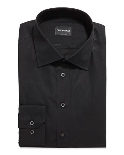 Solid Poplin Dress Shirt, Black