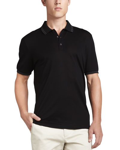 Cotton Piqué 3-Button Polo Shirt with Gancini Detail on Collar, Black/Gray