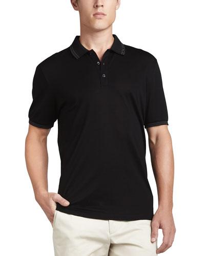 Cotton Piqué 3-Button Polo Shirt with Gancini Detail on Collar, Black/Gray