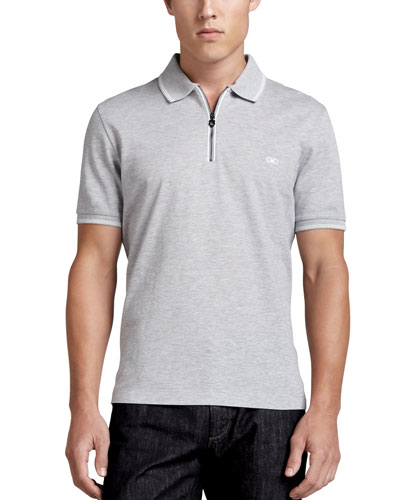 Cotton Piqué Zip Polo Shirt with Gancini Chest Embroidery, Gray/White