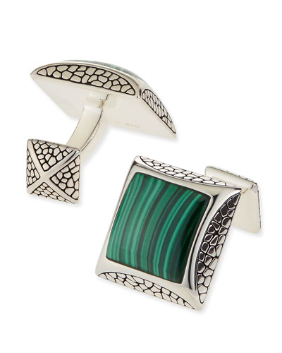 Pebbled Silver Cuff Links with Malachite