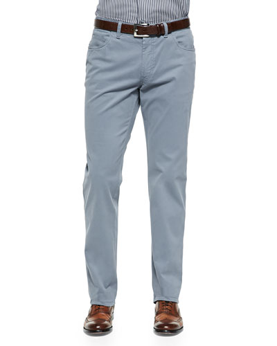 Five-Pocket Cotton Trousers, Gray