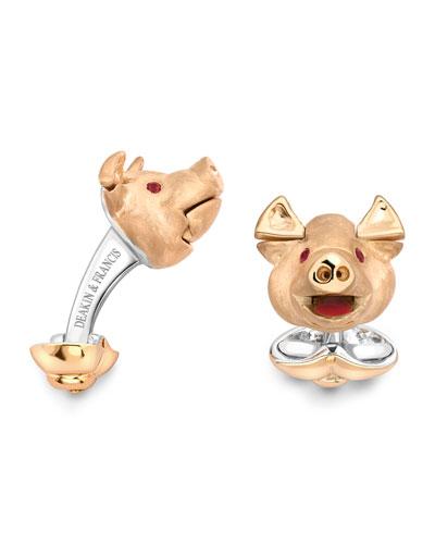 Pig Head Cuff Links