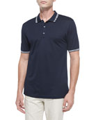 Men's Tape-Tipped Short-Sleeve Polo, Blue