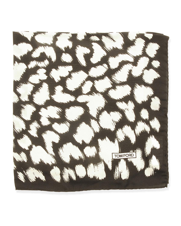 Animal-Print Pocket Square, Black/White