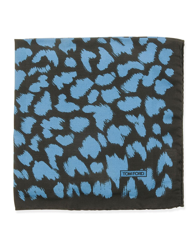 Animal-Print Pocket Square, Blue/Black