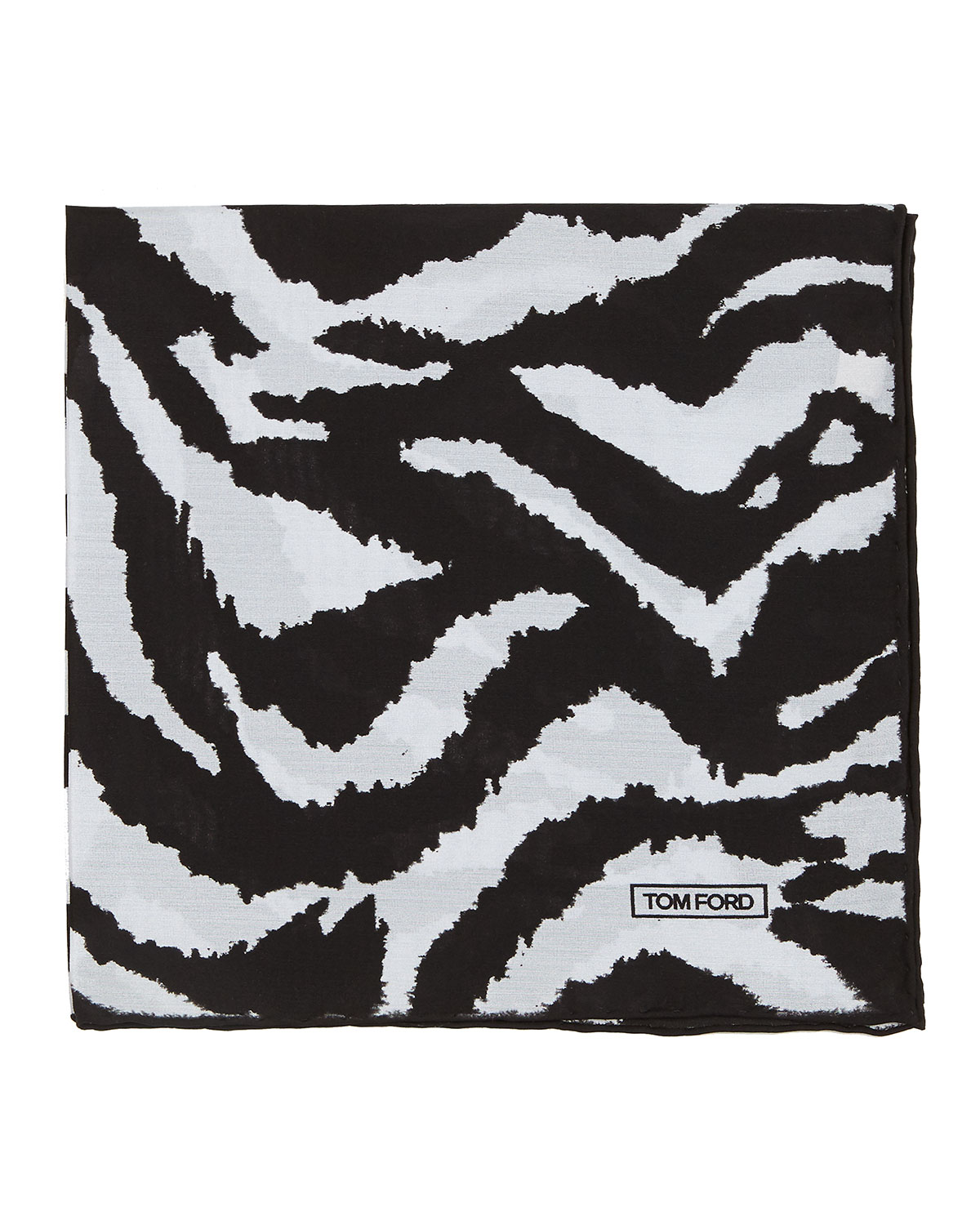 Zebra-Print Silk Pocket Square, Black/White