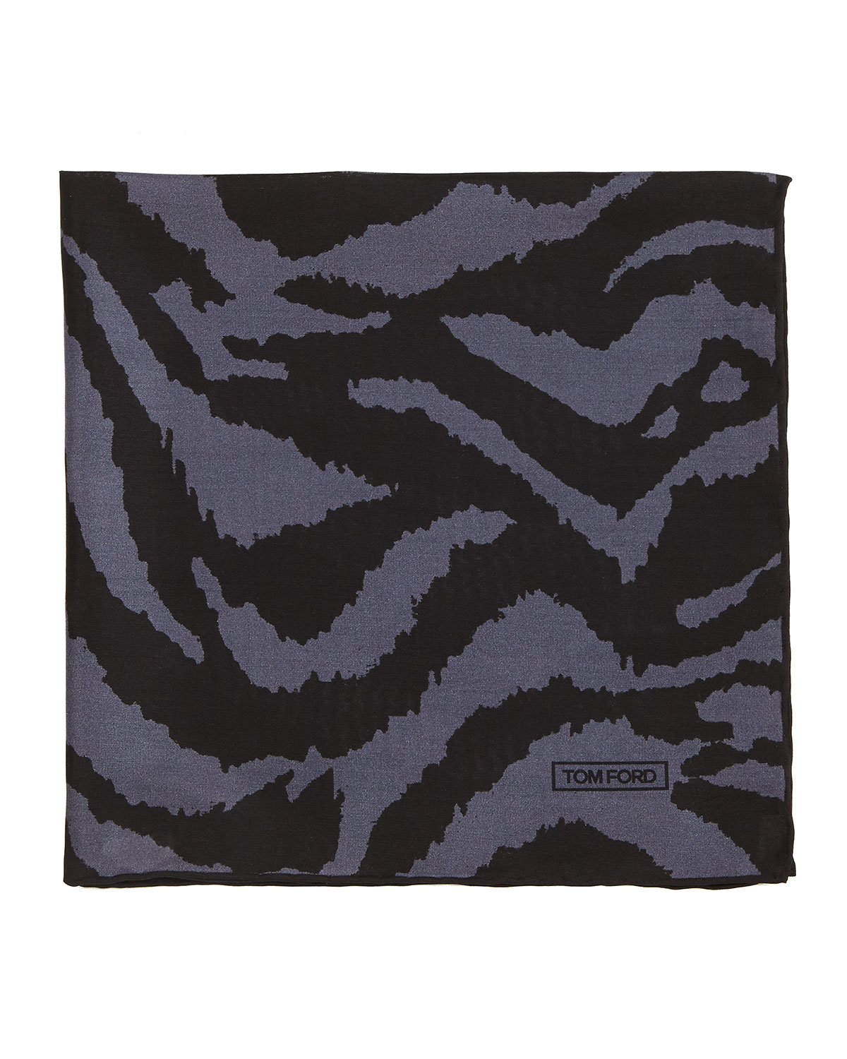 Zebra-Print Silk Pocket Square, Black/Gray