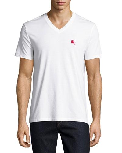 Lindon Cotton V-Neck T-Shirt, White