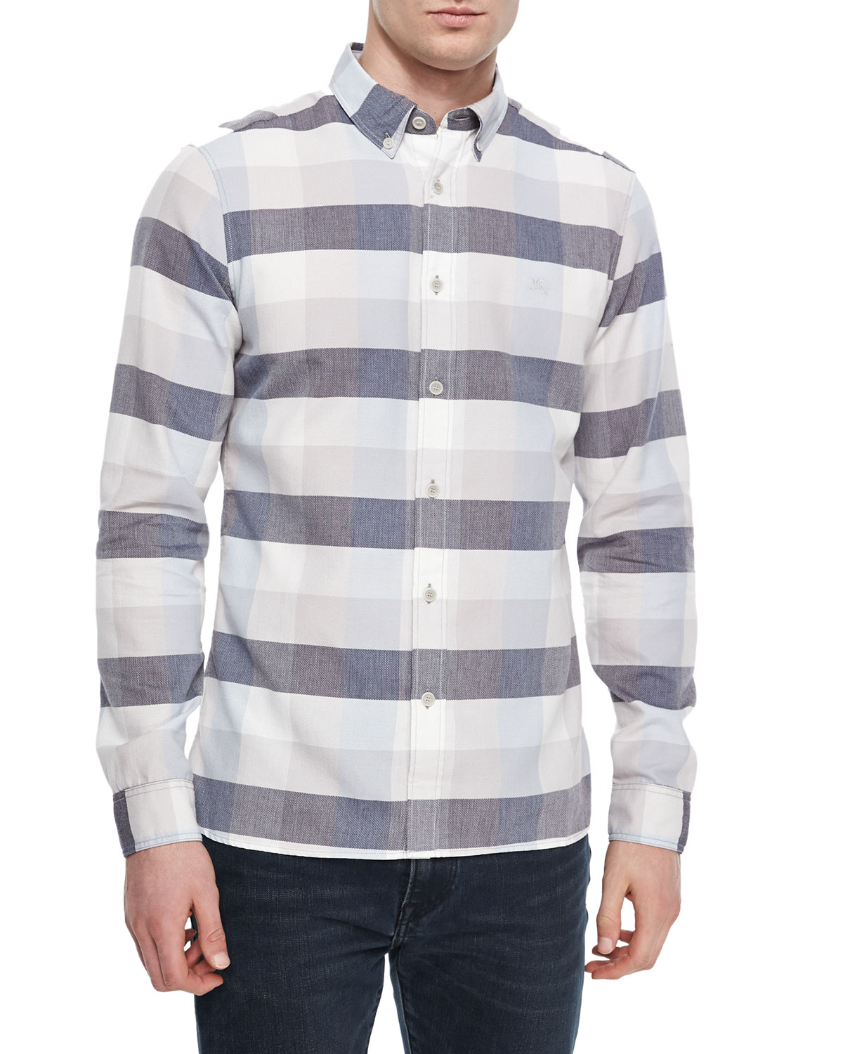 Large-Check Long-Sleeve Shirt, Pale Gray