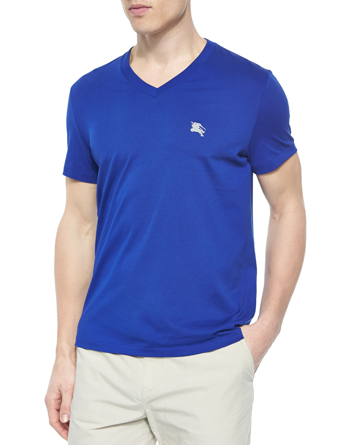 Equestrian Knight V-Neck Short-Sleeve T-Shirt, Cobalt Blue