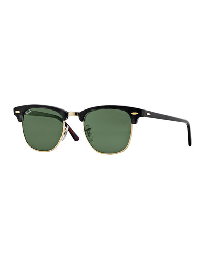 RAY BAN Ray-Ban Unisex Classic Clubmaster Sunglasses, 50Mm in Black/Gold