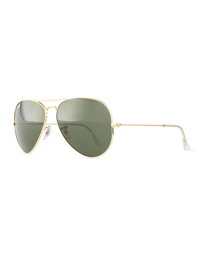 RAY BAN Ray-Ban Unisex Polarized Classic Aviator Sunglasses, 62Mm in Gold/ Grey Gradient