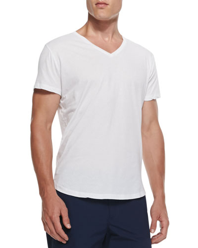 Jersey V-Neck T-Shirt, White