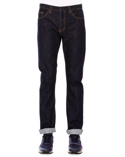 Dark Clean-Wash Denim Jeans, Blue