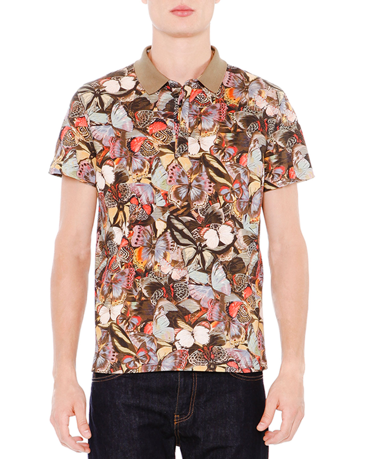 Multi-Butterfly Print Short-Sleeve Polo Shirt