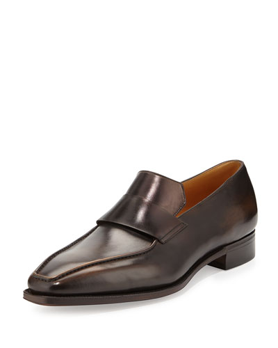 Massai Calf Leather Loafer with Old Black Patina, Tan