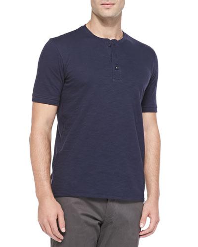 Short-Sleeve Slub Henley, Navy
