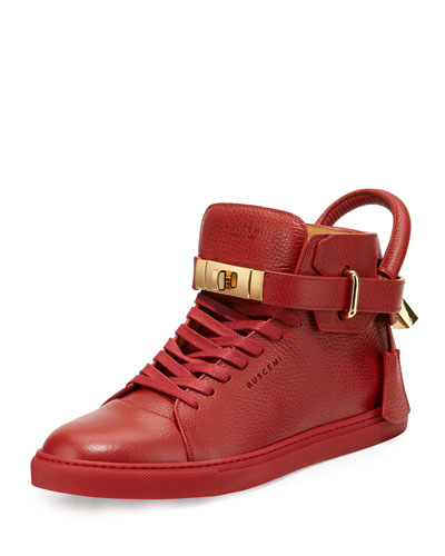 100mm High-Top Sneaker, Red