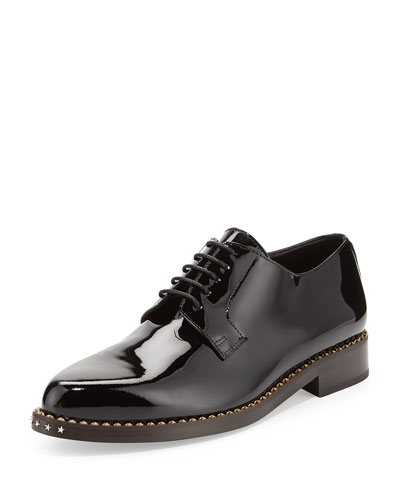 Miles Patent Star-Stud Derby Shoe