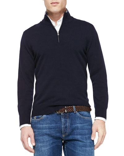 Cashmere Half-Zip Sweater, Navy
